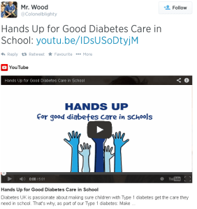 Hands up for Good Diabetes Care tweet