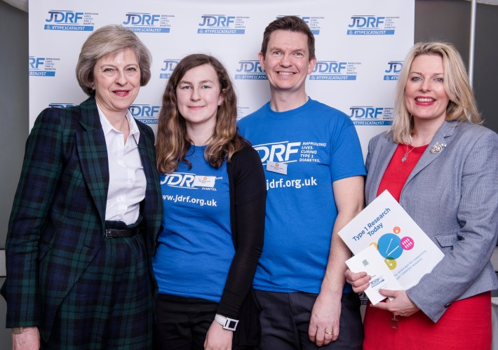 JDRF Westminster Palace reception. Theresa May, Mims Davies, Amy and Kevin Winchcombe. Copyright John Nguyen/JNVisuals 25/04/2016