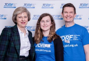 JDRF Westminster Palace reception. Theresa May, Mims Davies, Amy and Kevin Winchcombe. Copyright John Nguyen/JNVisuals 25/04//2016