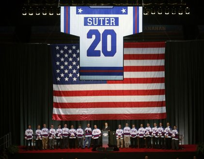 Bob Suter's jersey raised at Herb Brooks Arena