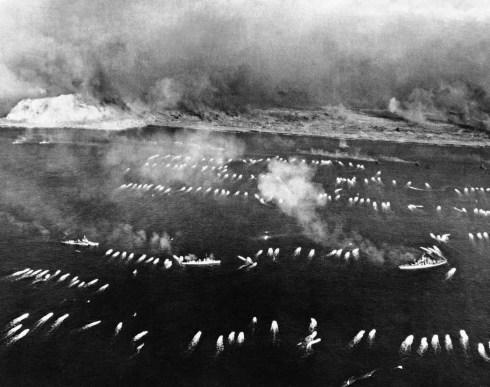 Armada heading towards Iwo Jima Beaches