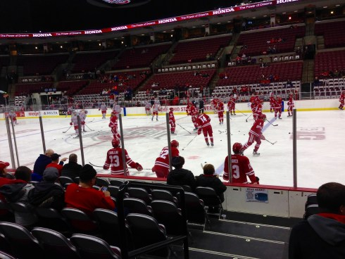 Badgers during warmups