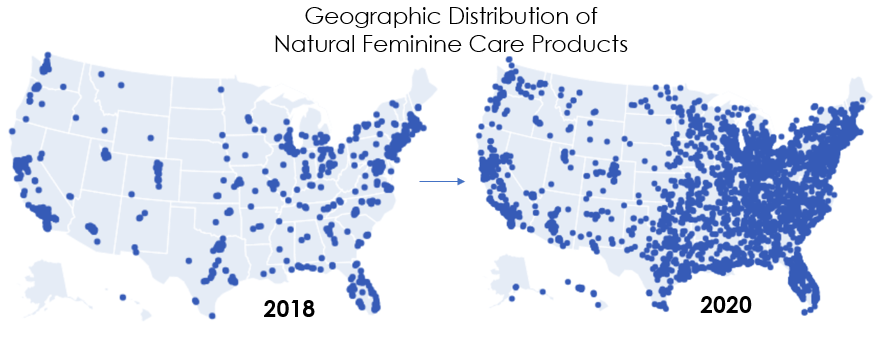 Geographic Distribution of Natural Feminine Care Products