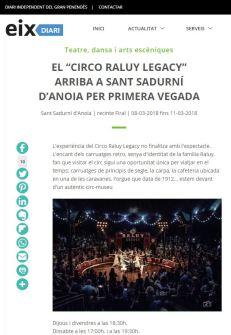2018-03-07. Eix Diari. EL CIRCO RALUY LEGACY ARRIBA A SANT SADURNÍ D'ANOIA PER PRIMERA VEGADA