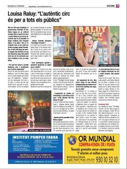 2019-07-05. Diari de Badalona. Louisa Raluy L'autèntic circ és per a tots els públics