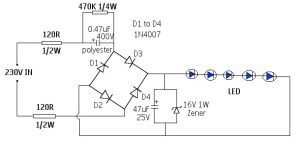220 High Voltage LED Driver Circuit Without Transformer