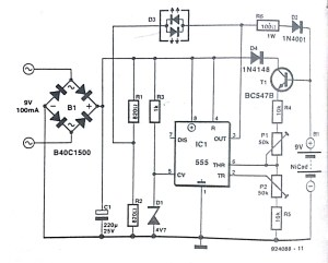 Automatic NiCd battery Charger Circuit Diagram