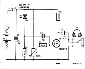 Infrared Headphone Receiver Circuit Diagram