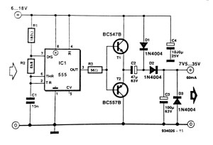 Simple DC to DC converter using 555 IC Timer