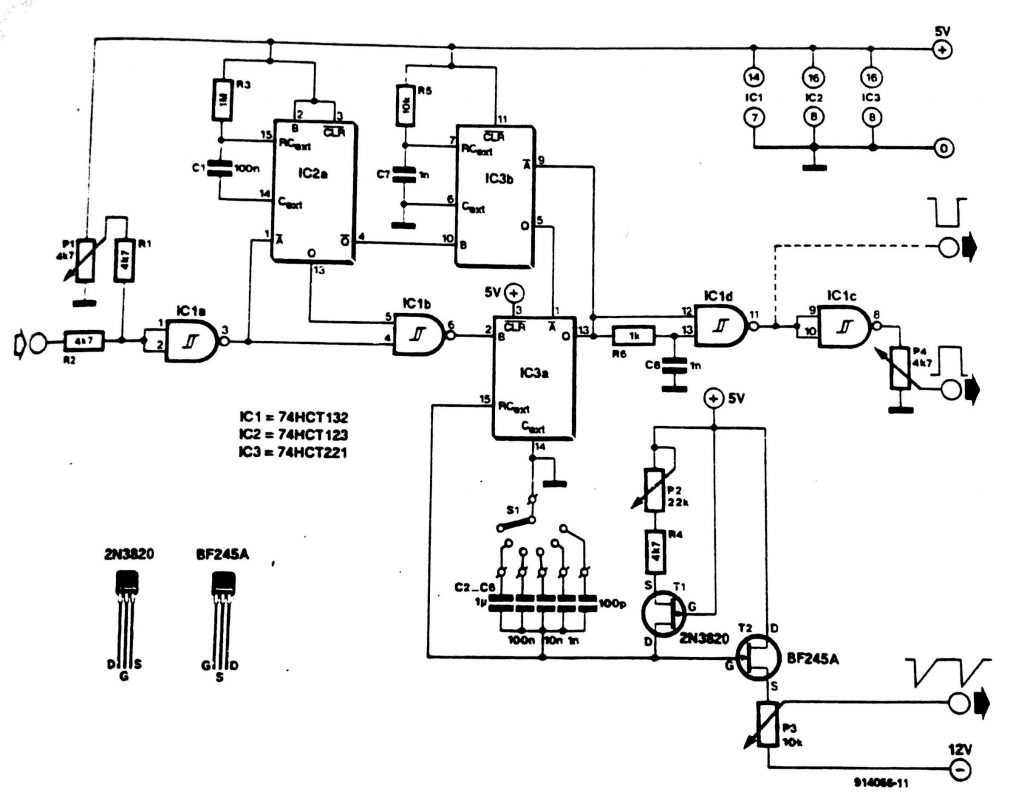 Triggered Sawtooth Generator Circuit Diagram