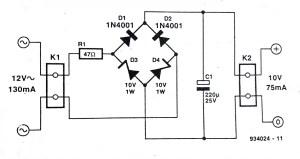 Zener Bridge Rectifier Circuit Diagram