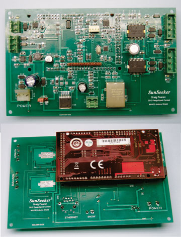 The SunSeeker board, at top, contains all the circuits required to control the solar array's motion. This board plugs into the Microsoft Technology chipKIT MAX32 processor board. The bottom side of the SunSeeker board (green) with the MAX32 board (red) plugged into it is shown at bottom.