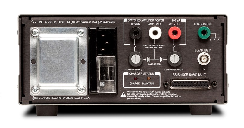 Photo 1 b: A rear-panel TTL blanking input enables you to quickly turn the Stanford Research Systems SR560 gain on and off.