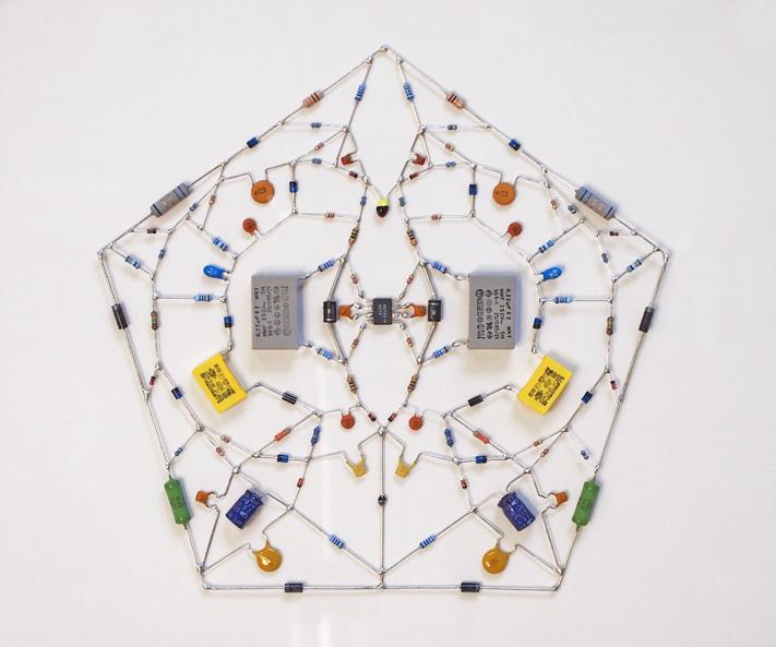 Technological Mandala 05: Electronic components, microchip, wood frame, 60 x 57 cm, 2012. (Photo courtesy of Leonardo Ulian)