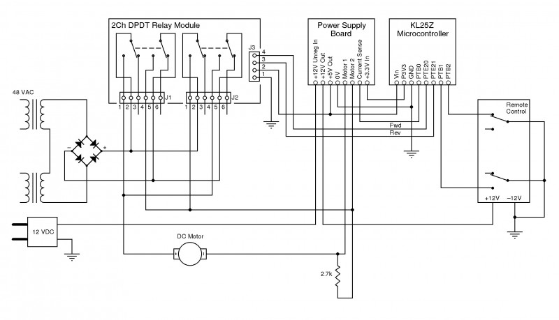Figure 3: This is the system's complete wiring diagram. On the left is a 48-V AC supply and an unregulated 12-V DC motor. A 2.7-Ω, 5-W resistor, which is used for current sensing, is in series with the motor.