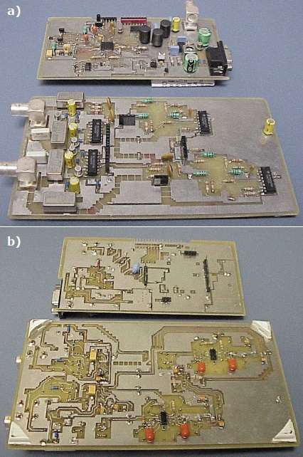 a—You can replace the relays in the coupling section and the driver circuit with solid-state relays if you can find ones with low leakage current. b—The op-amp's SMD packages are best viewed from the bottom. The larger board is populated on both sides. Note the importance of the parasitic coupling of the PWM D/A outputs to the input of the amplifiers.