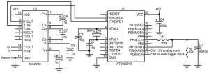 Figure 2— You can work with a bare minimum of parts, because it doesn't take much to capture repetitive waveforms at 1 Msps and upload them to a terminal program on a PC for display and analysis. The passive components connected to pins 13 and 15 of the microcontroller are in the same basic configuration used for successive approximation A/D conversion; only the firmware is different.