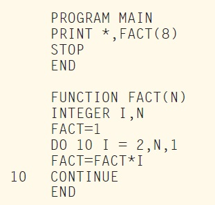 LISTING 1: This is the factorial program using FORTRAN 77.