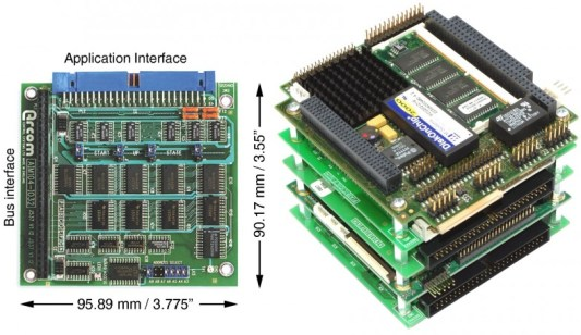 Photo 1 - The PC/104 specifications relate to small modules, which can be stacked one above the other.