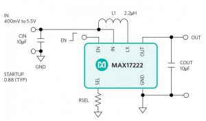 Figure 3 The MAX17222 boost regulator offers a low quiescent current of 300 nA, 0.4V to 5.5V input, 1.8V to 5V output and 500 mA input current limit.
