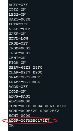 Figure 5 This terminal screen capture shows device bonding by having a specific MAC address in the address field (ADDR).