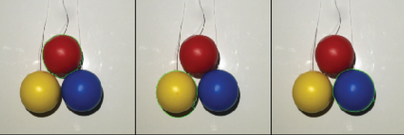 Photo 4 Each colored ball detected during the image-processing routine (left-red, middle-yellow, and right-blue)