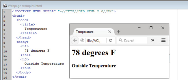 Photo 1 The rendering of text to a web page requires little code to produce. This HTML file is less than 200 characters.