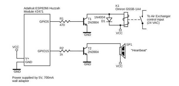 Figure 7 Schematic of the air exchanger controller module. Like the other remote modules, this one has a piezo beeper that sounds periodically to indicate the unit is functioning properly.
