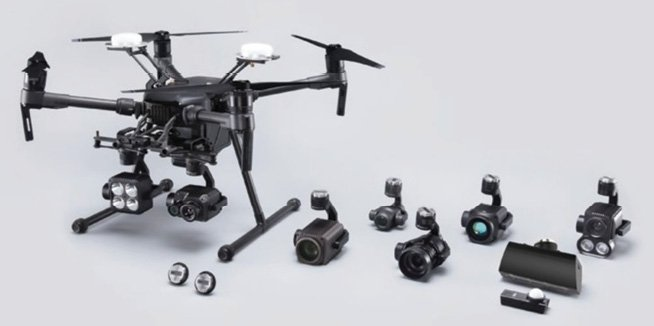 Figure 12 DJI offers two physical devices to integrate your payload onto DJI drones. One is the DJI SkyPort V2 (the two small disks at lower left) a standard adapter that secures and integrates a payload onto the drone. The other is the DJI X-Port, (shown holding various cameras at bottom right) a ready-to-build standard gimbal that comes with DJI SkyPort V2 and a gimbal debugging interface.