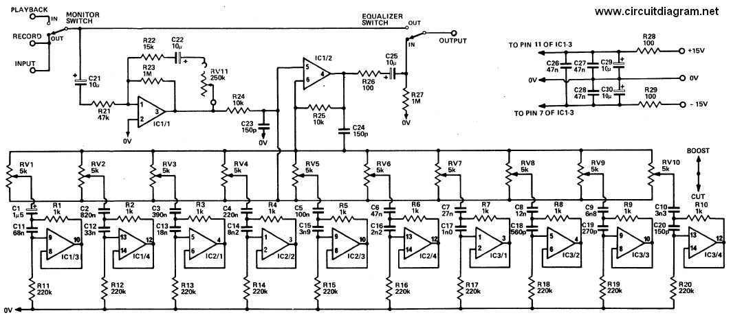20 Band Graphic Equalizer  Schematic Design