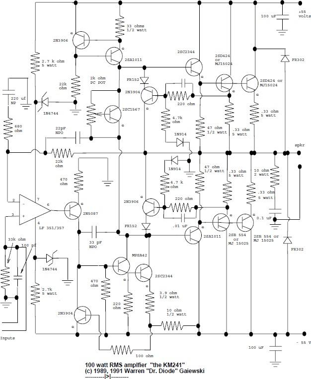 100w rms audio amplifier
