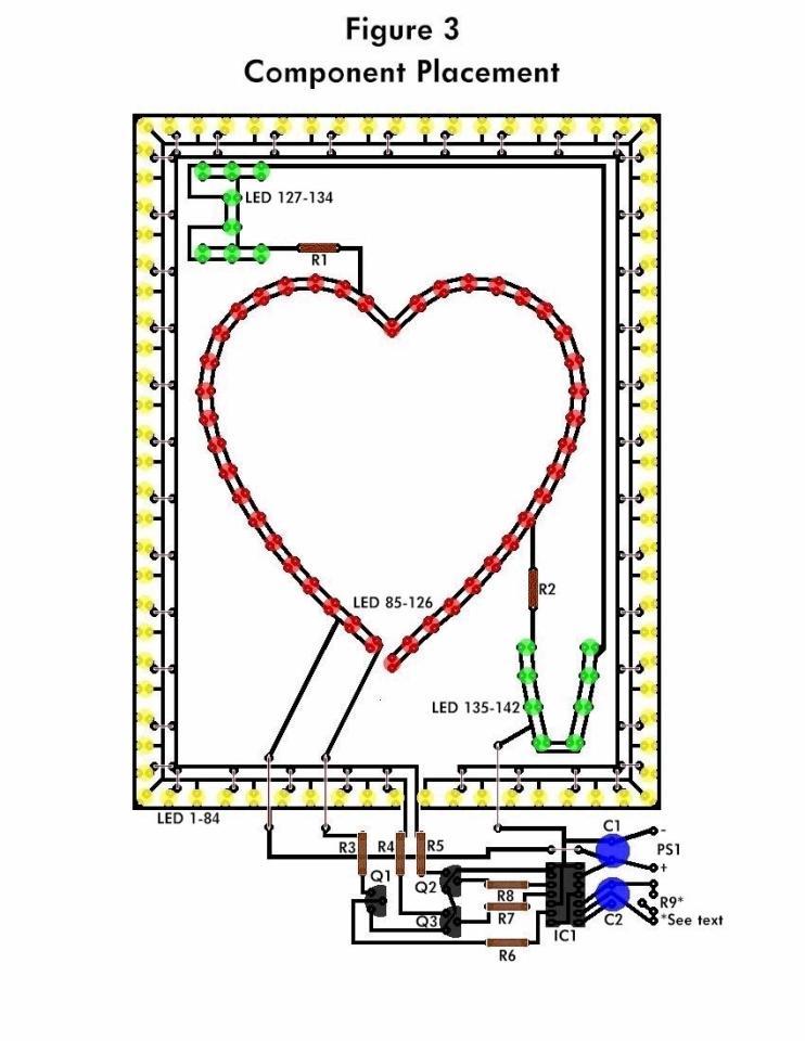 Flashing heart schematic diagram