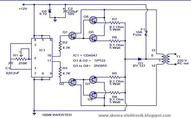 Power Inverter 100W, 12V DC to 220V AC  Schematic Design