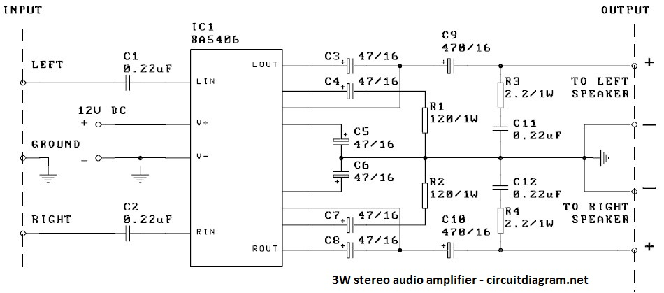 3W Stereo Audio Amplifier Circuit with IC BA5406