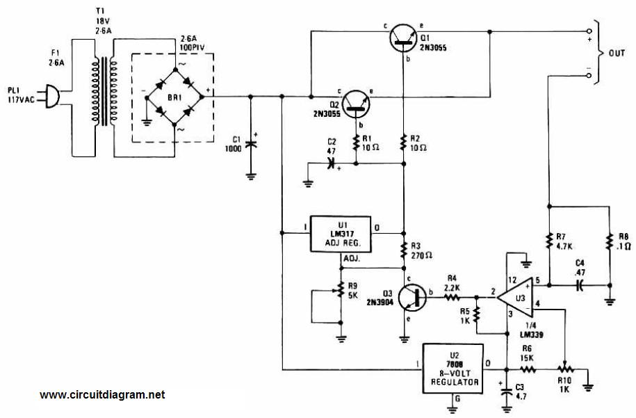 Adjustable Regulated Battery Charger Circuit Electronic