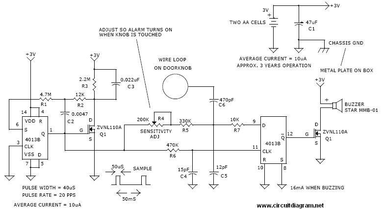 door knob alarm circuit electronic