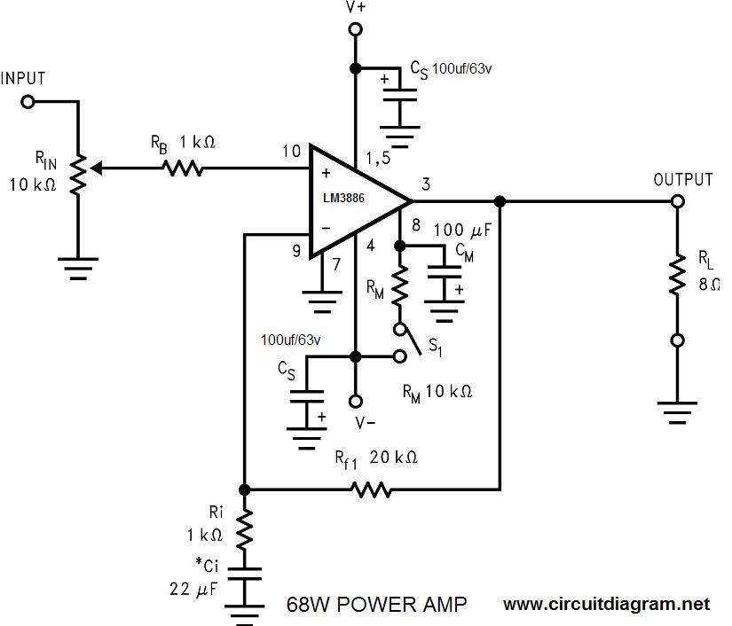68W Power Amplifier Circuit LM3886
