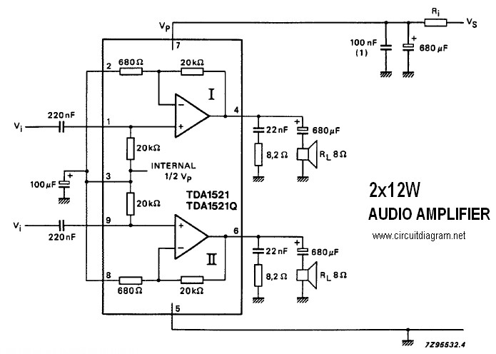 Stereo 12W Audio Amplifier Circuit