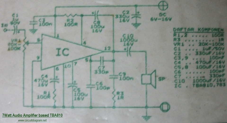 7W Audio Amplifier Circuit Electronic TBA810