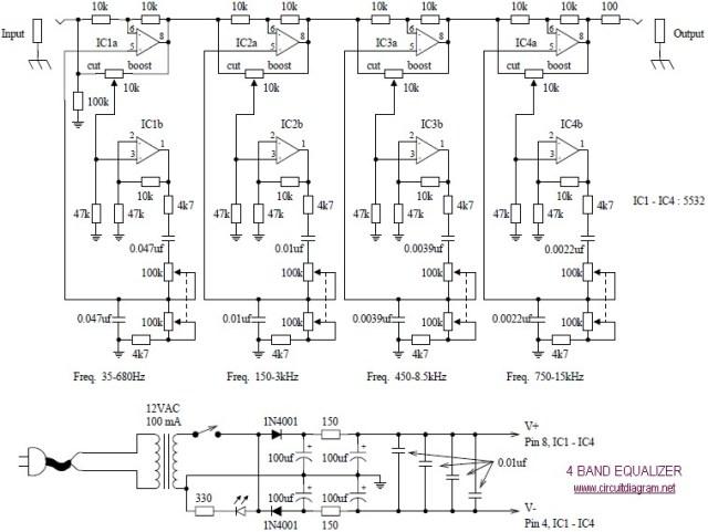 4 band equalizer schematic design
