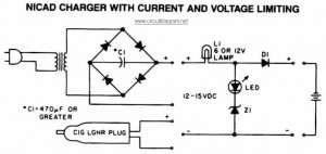 NiCAD Battery Charger circuit with Current and Voltage Limiting