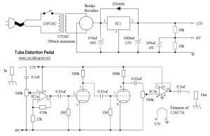 Tube Distortion Pedal circuit diagram