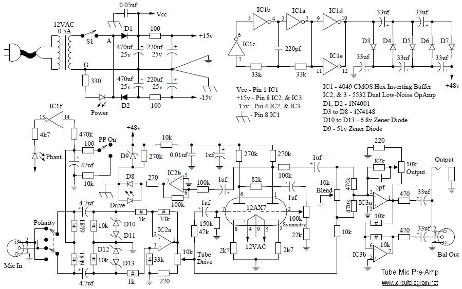 tube mic pre amp schematic design