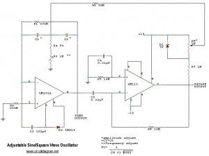 adjustable sine square wave oscillator