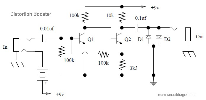 distortion booster effect circuit diagram