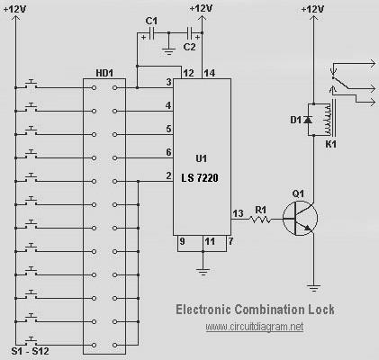 simple electronic combination lock schematic design. Black Bedroom Furniture Sets. Home Design Ideas