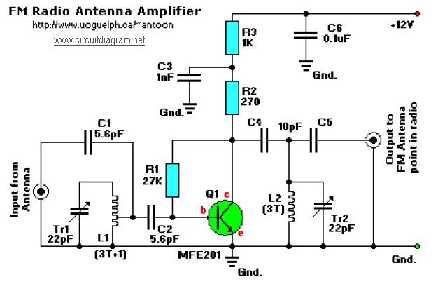 Fm Receiver Antenna  lifier on fm radio antenna booster circuit schematic