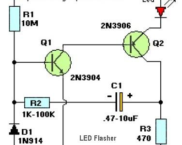 2 Transistor LED Flasher Circuit Diagram