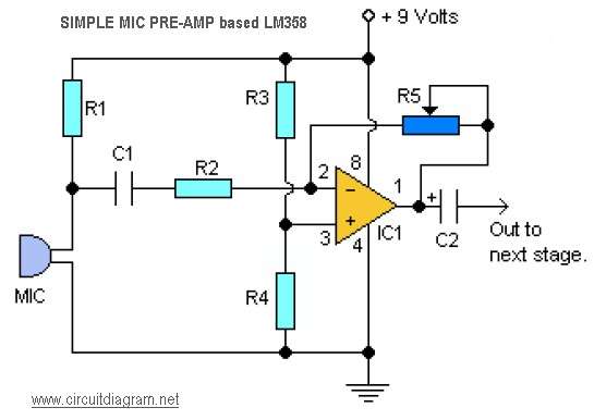 Simple Mic Pre   Based Lm358 on how to use breadboard circuits