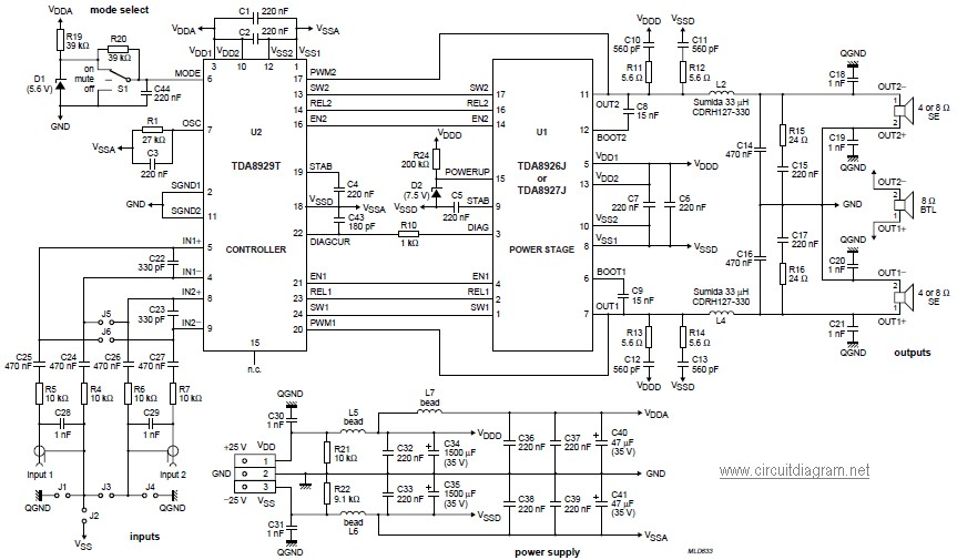 class d power audio amplifier circuit based tda8929t schematic design. Black Bedroom Furniture Sets. Home Design Ideas